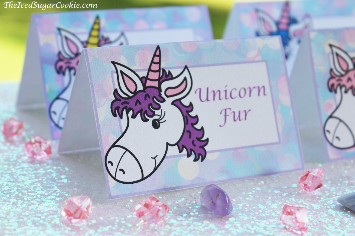 Unicorn Birthday Party Food Label Tent Cards-Unicorn Fur, Unicorn Cookies, Unicorn Punch, Unicorn Horns by The Iced Sugar Cookie-DIY Printable digital download for your Unicorn Birthday Party event!