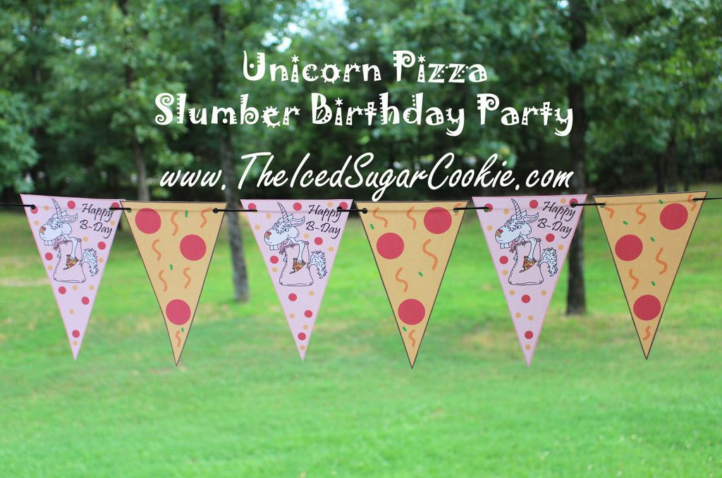 Unicorn Pizza Slumber Birthday Party Food Tent Cards Free Printables by The Iced Sugar Cookie 3 Flag Banners
