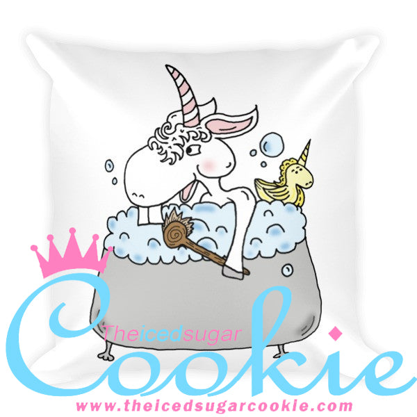 Unicorn Taking A Bubble Bath With Unicorn Rubber Ducky Throw Pillow by The Iced Sugar Cookie. Unicorn novelty products by theicedsugarcookie.com