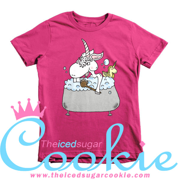 Unicorn Takes Bubble Bath With Unicorn Rubber Ducky Kids T Shirts by The Iced Sugar Cookie Clothing