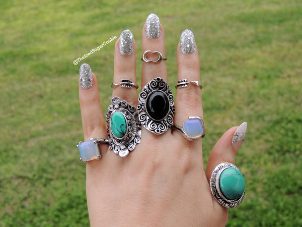 Sweet Black Licorice Rings The Iced Sugar Cookie Fashion Rings Jewelry Boho Bohemian Tribal Coachella Festival Indian Cute 2016 Pretty Big Large Chunky Hippy Hipster