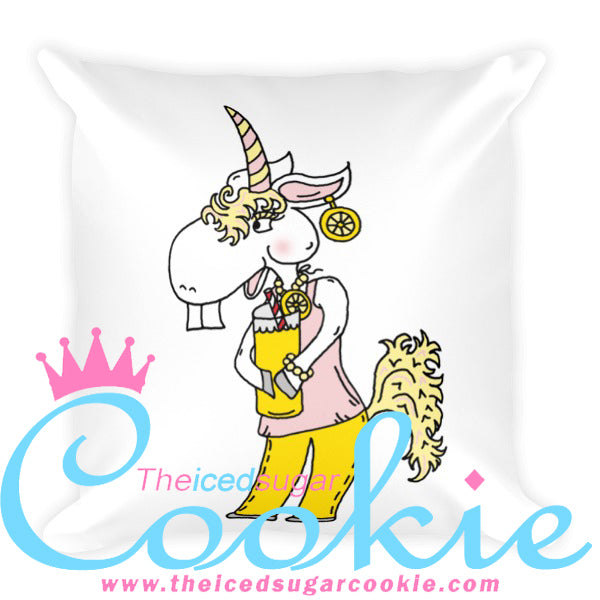 Unicorn Drinking Lemonade Throw Pillow by The Iced Sugar Cookie