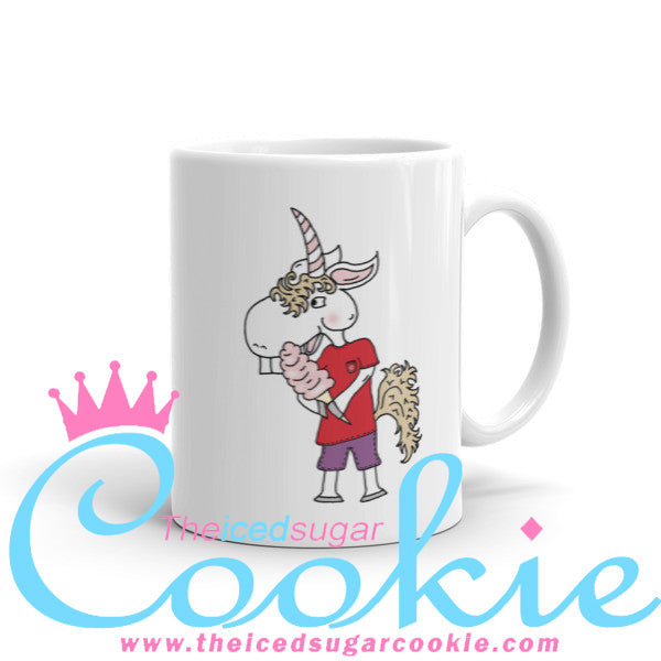 Unicorn Eating Cotton Candy Coffee Cup Mug by The Iced Sugar Cookie