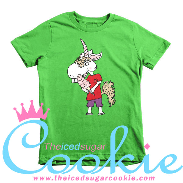 Unicorn Eating Cotton Candy Kids T Shirt by The Iced Sugar Cookie Clothing