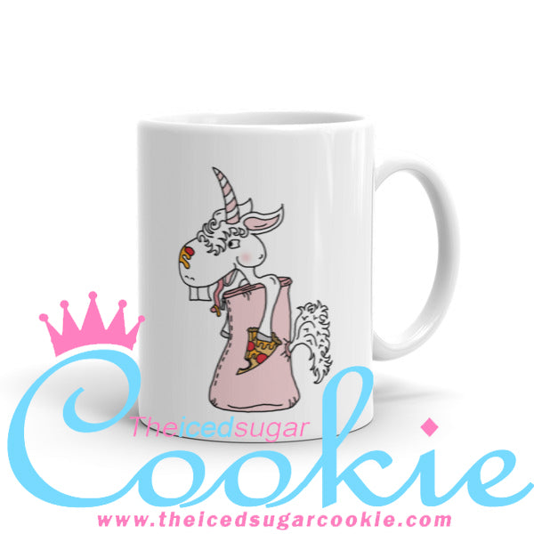 Unicorn Eating Pizza in a sleeping bag Coffee Cup Mug by The Iced Sugar Cookie