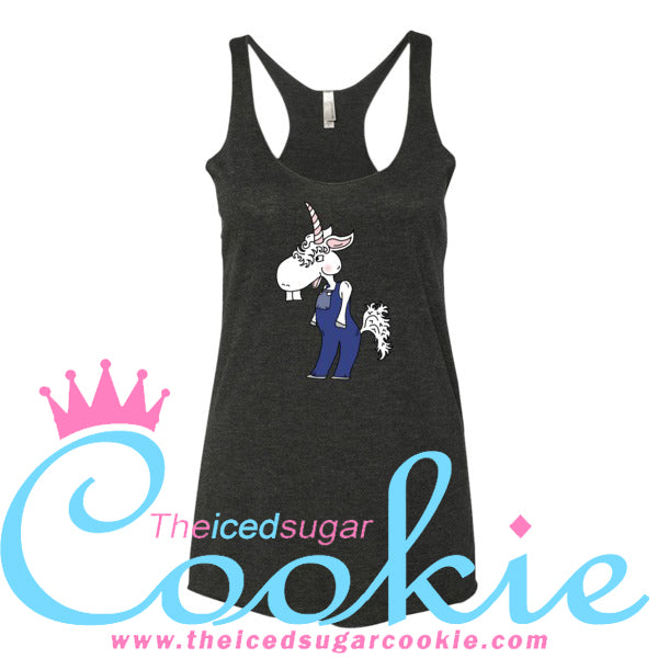 Unicorn Hillbilly Wearing Overalls Tank Top Women's By The Iced Sugar Cookie Clothing