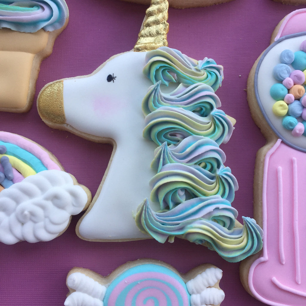 Unicorns, Rainbows, Gumball Machines, Ice Cream And Candy Birthday Party Sugar Cookies TheIcedSugarCookies.com Aujanes Sweets LLC