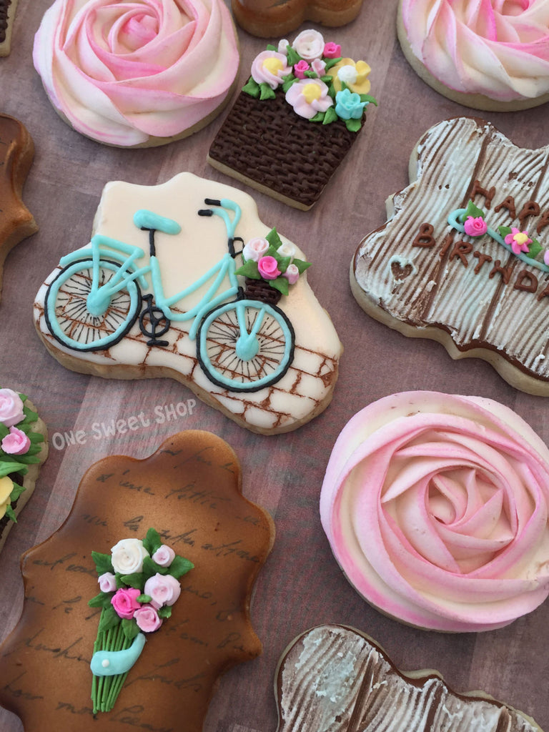 Vintage Bicycles, Flowers, Wooden Fences And Rosette Sugar Cookies TheIcedSugarCookie.com One Sweet Shop Cookies