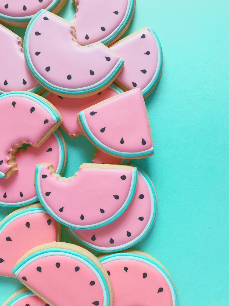 "Watermelon Iced Sugar Cookies by HollyFox Design"" featured on TheIcedSugarCookie.com The Iced Sugar Cookie #cookies #sugarcookies #decoratedcookies #watermeloncookies #watermelonparty #theicedsugarcookie"