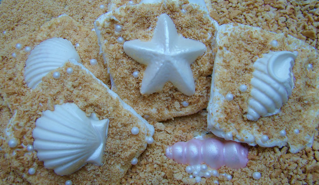 Seashell Chocolate Covered Graham Cracker Cookies-Mermaid Under The Sea Birthday Party Cookies. TheIcedSugarCookie.com Taylors Sweet Revenge