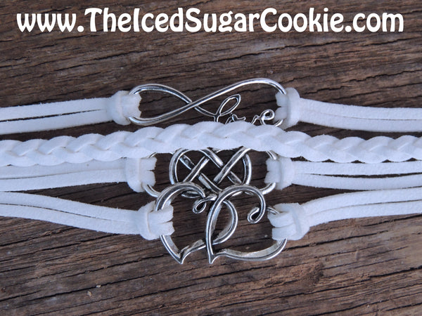 Hearts Love White Faux Leather Bracelet by The Iced Sugar Cookie- Fashion Jewelry