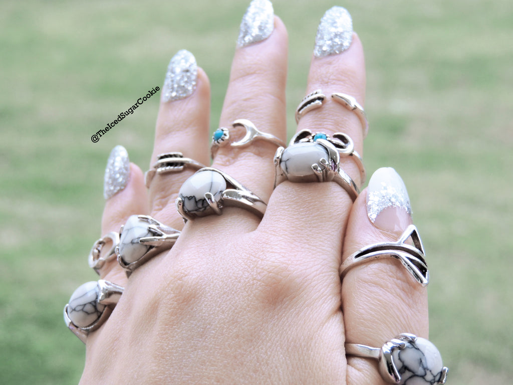 White Turquoise Rings The Iced Sugar Cookie Fashion Rings Jewelry Boho Bohemian Tribal Coachella Festival Indian Cute 2016 Pretty Big Large Chunky Hippy Hipster