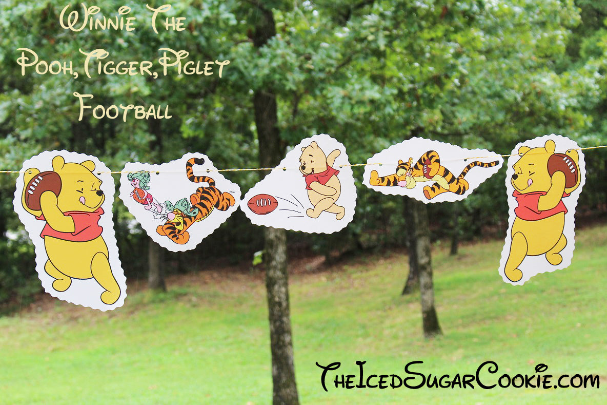 DIY Winnie The Pooh, Tigger, Piglet Football Flag Hanging Banner Ideas