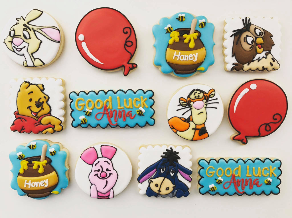 Winnie The Pooh, Rabbit, Owl, Tigger, Piglet And Eeyore Sugar Cookies TheIcedSugarCookie.com Ruthie Grace Cake Co