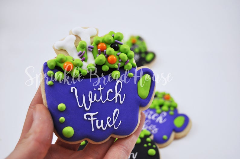 Halloween Witches Brew Potions Iced Sugar Cookies Created by Sprinkle Bread House by TheIcedSugarCookie.com