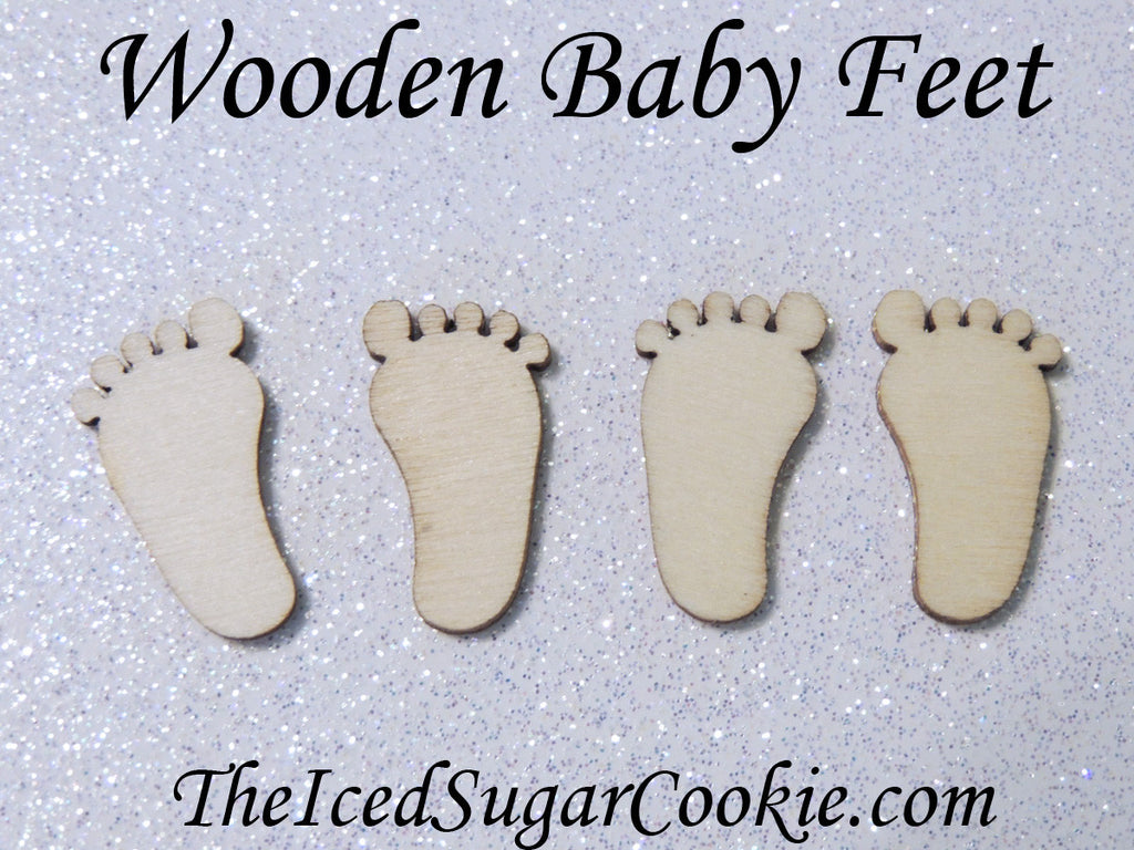 Wooden Baby Feet-Set of 50-Baby Shower Decorations-Rustic Baby Shower-theicedsugarcookie.com