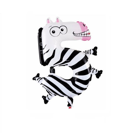 Zebra Balloon-Number Five Zebra Balloon-Zebra Balloons-Zebra Birthday Party Balloons