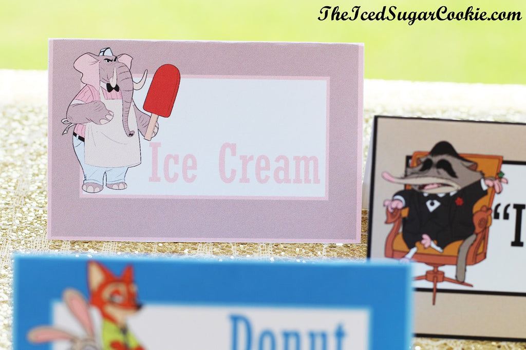 Free Zootopia Food Label Tent Cards And Banner Garland by TheIcedSugarCookie.com #zootopia #zootopiaprintables