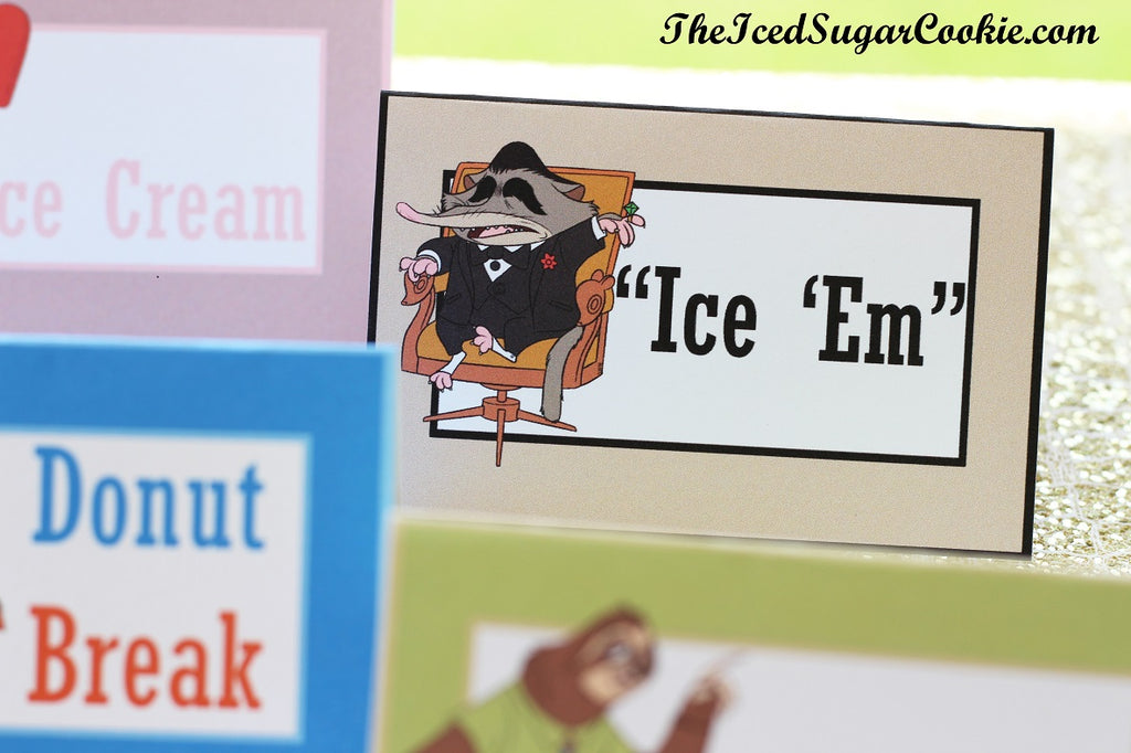 Zootopia Birthday Party Food Label Cards Free Printable Template Make Your Own DIY Zootopia Food Label Cards And Hanging Flag Banner by The Iced Sugar Cookie-Mole Mr Big, Nick Fox, Judy Bunny, Flash Sloth, Elephant Jerry