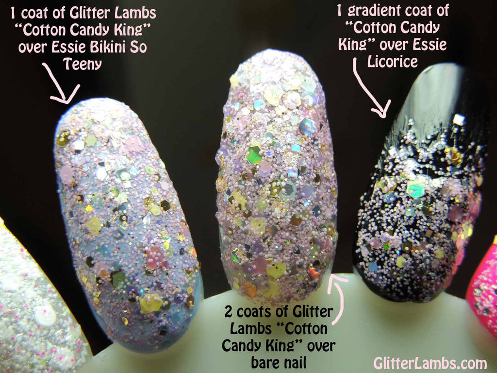 "Glitter Lambs ""Cotton Candy King"" Nail Polish-Custom Handmade Glitter Topper Nail Polishes-Pink Gold Nails www.TheIcedSugarCookie.com"
