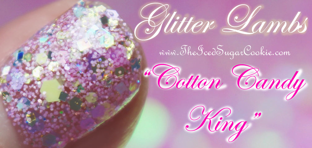 "Glitter Lambs ""Cotton Candy King"" Glitter Topper Nail Polish. www.TheIcedSugarCookie.com"