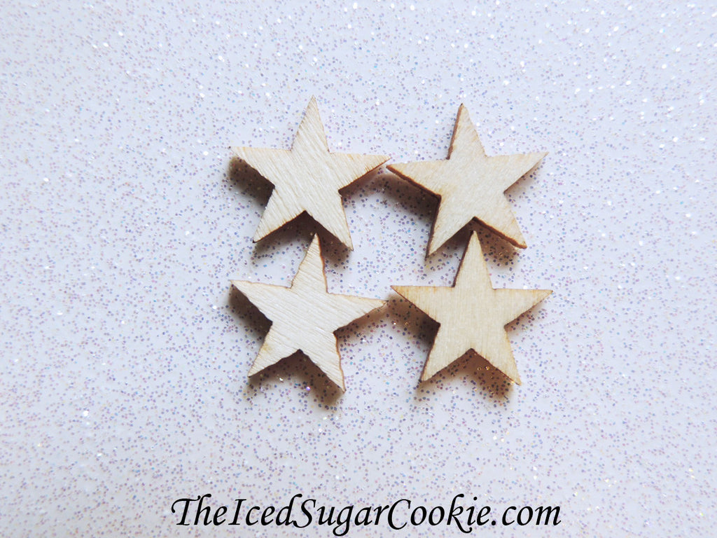 1/2 Inch Wood Stars DIY Crafts Ornaments Scrapbooking Supplies Mermaid Birthday Party-TheIcedSugarCookie.com
