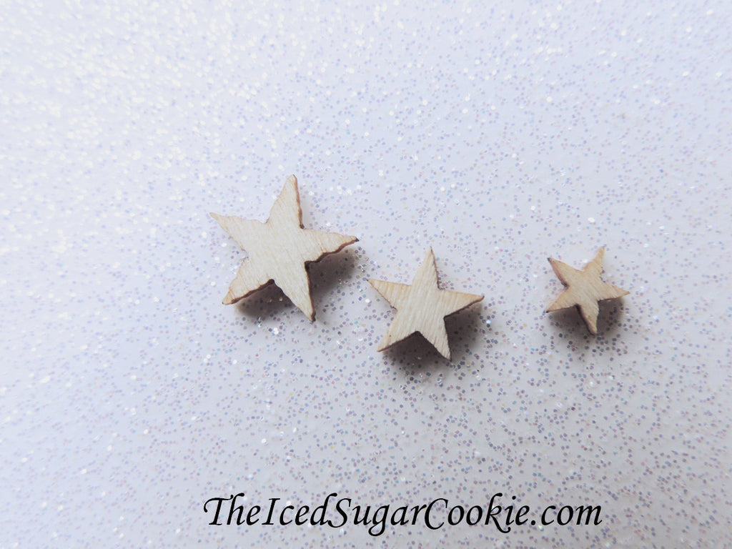 Really Tiny Mini Wooden Stars DIY Crafts Scrapbooking Birthday Party Weddings Baby Shower-TheIcedSugarCookie.com