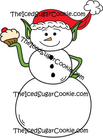 Snowman Elf Holding Cupcake Wearing Santa Hat Clip Art Christmas Graphics Pack Commercial Use