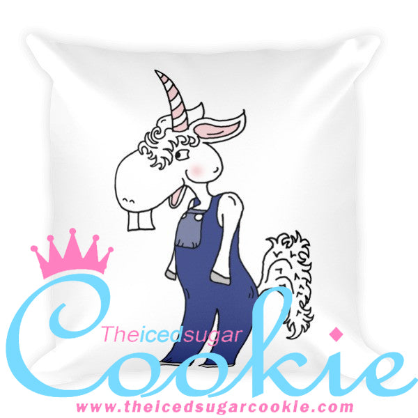 Unicorn Hillbilly In Overalls Throw Pillow by The Iced Sugar Cookie