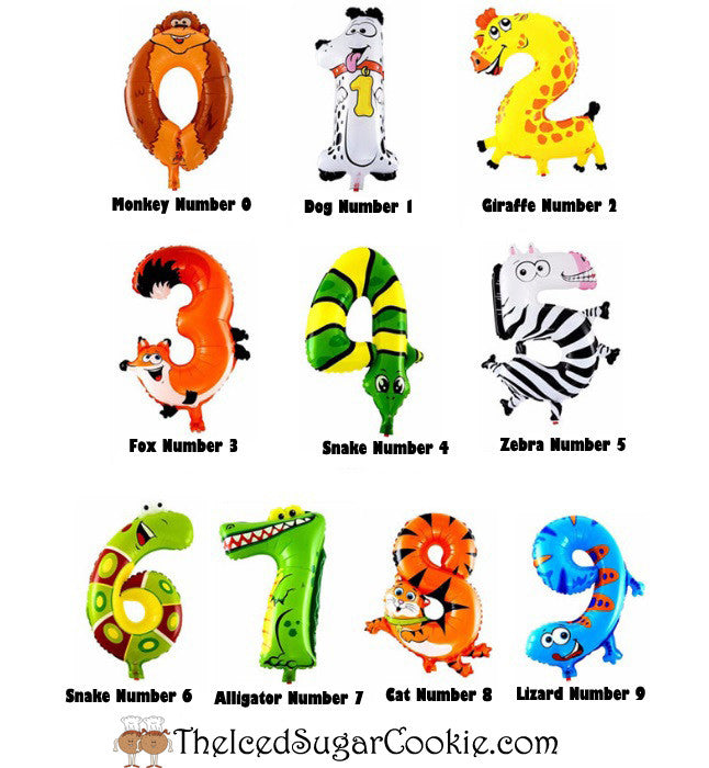 Animal Number Birthday Party Balloons