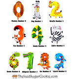 Animal Balloons For Kids Birthday Party-Monkey, Dog, Giraffe, Fox, Snake, Zebra, Snake, Alligator, Kitty Cat, Tiger, Lizard Balloon Numbers 1 one two 2 three 3 four 4 five 5 six 6 seven 7 eight 8 nine 9 Zero 0
