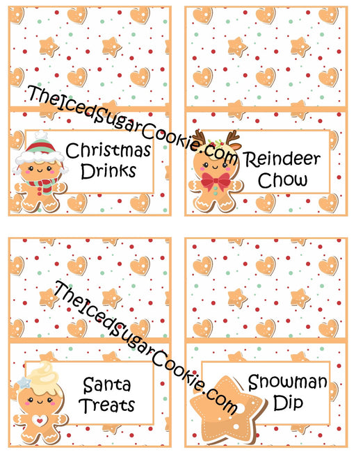 100 Printable Christmas Gingerbread Food Cards