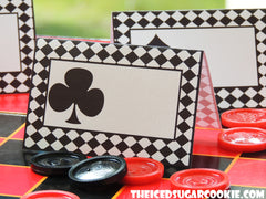 Alice In Wonderland Birthday Party Playing Cards Deck Of Cards Food Label Tent Cards-Printable Digital Download