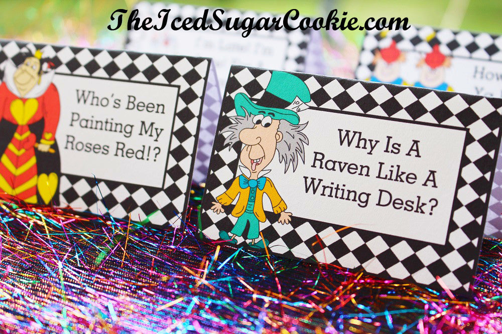 Free Alice In Wonderland Food Label Tent Cards by TheIcedSugarCookie.com | Digital Download