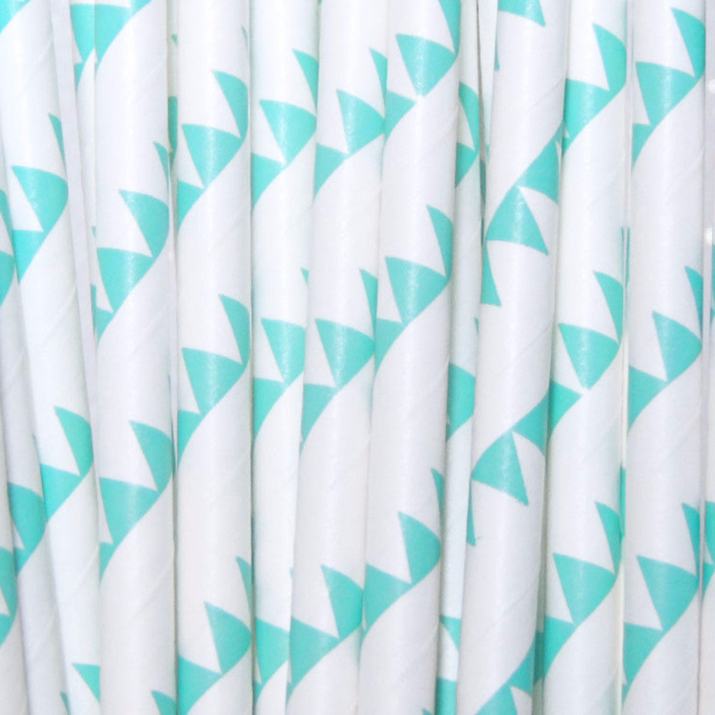 Aqua Flags Paper Straws