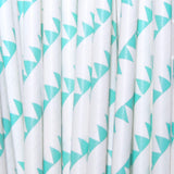 Aqua Flags Paper Straws Drinking Straws Aquamarine Blue Green Paper Straws Birthday Party Straws-TheIcedSugarCookie.com
