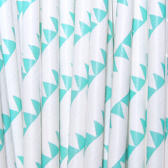 Mermaid Aqua Flags Paper Straws