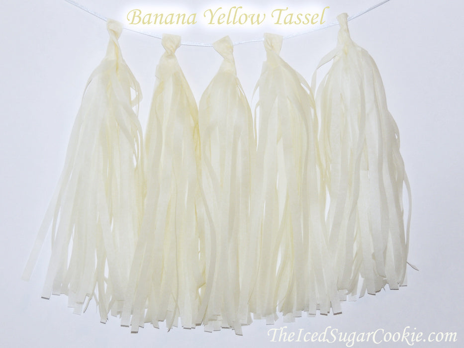 Pastel Banana Yellow Tissue Paper Tassel Garland Banner DIY Birthday Party TheIcedSugarCookie.com