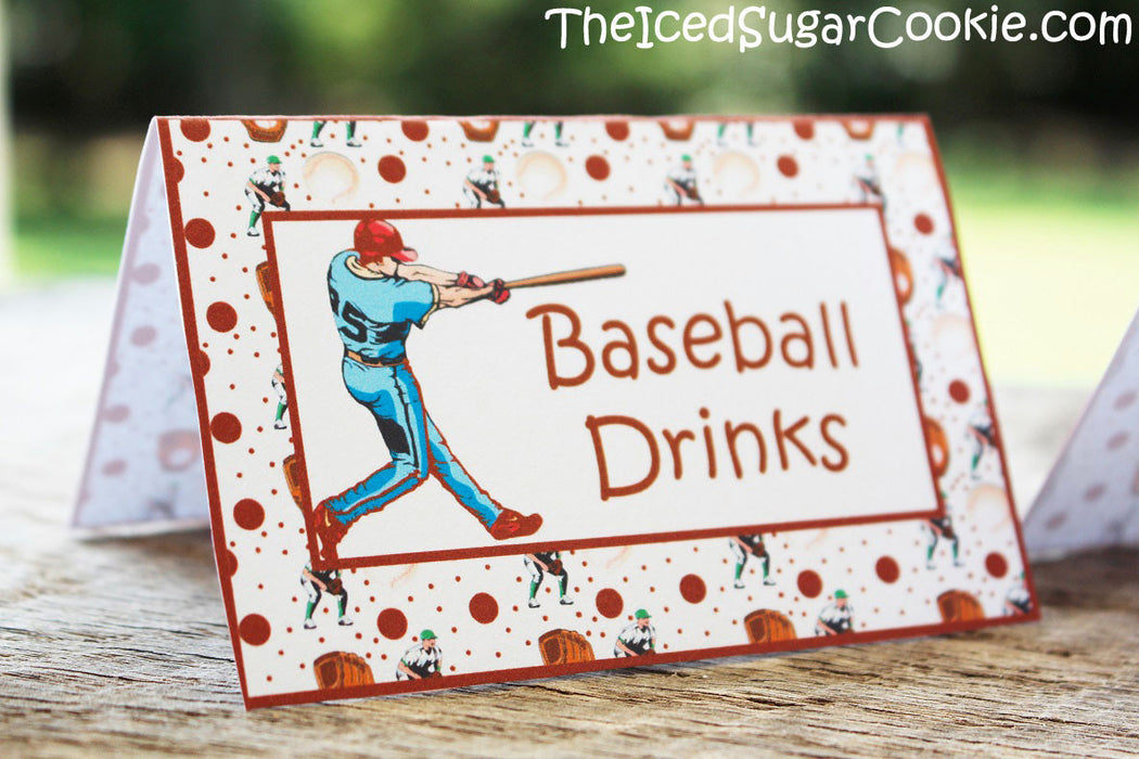 Baseball Birthday Party Food Label Tent Cards DIY Sports Printable Template Digital Download-Baseball Drinks