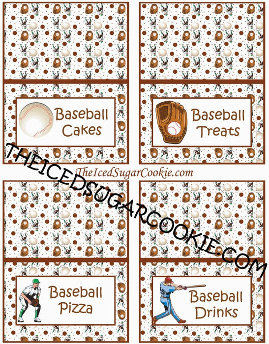 Baseball Birthday Party Food Label Tent Cards DIY Sports Printable Template Digital Download-Baseball Cakes, Baseball Treats, Baseball Pizza, Baseball Drinks
