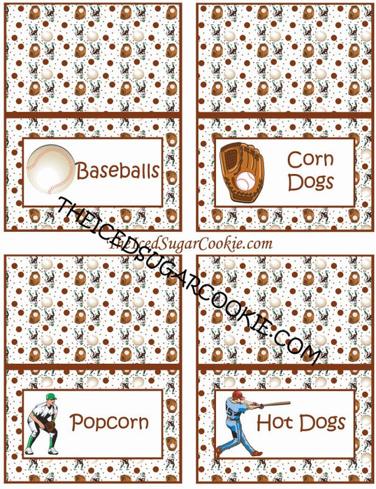 Baseball Birthday Party Food Label Tent Cards DIY Sports Printable Template Digital Download- Baseballs, Corn Dogs, Popcorn, Hot Dogs