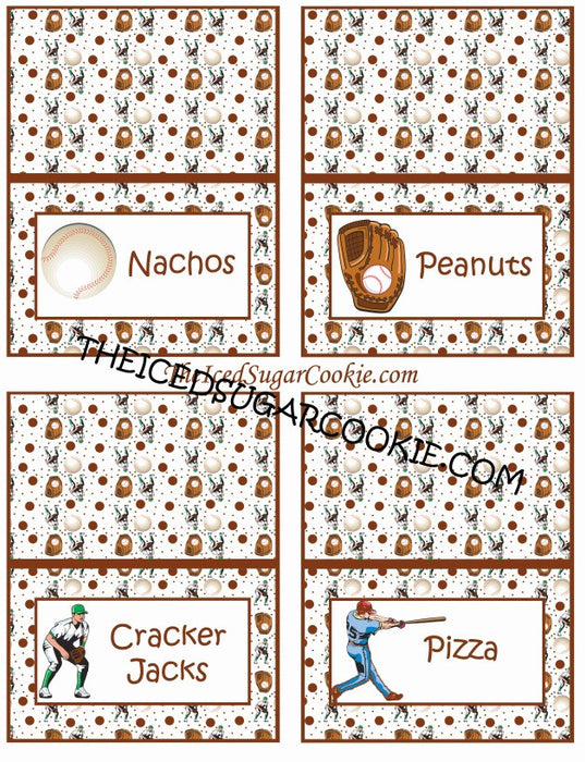 Baseball Birthday Party Food Label Tent Cards DIY Sports Printable Template Digital Download-Nachos, Peanuts, Cracker Jacks, Pizza