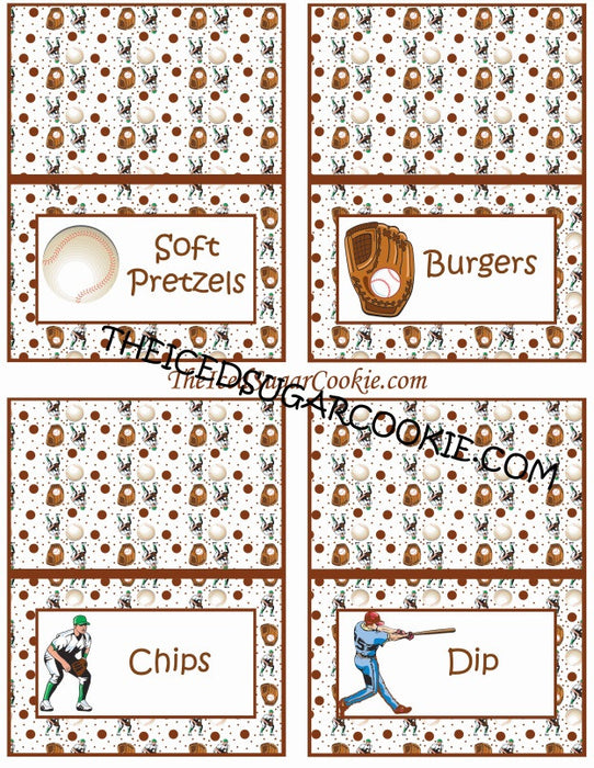 Printable Baseball Food Cards