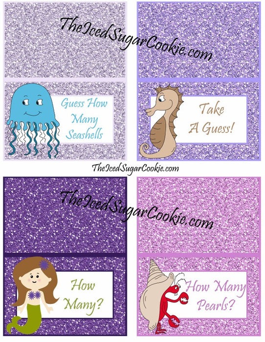 picture regarding Guess Who Cards Printable named Printable Glitter Mermaid Foodstuff Playing cards Electronic Down load