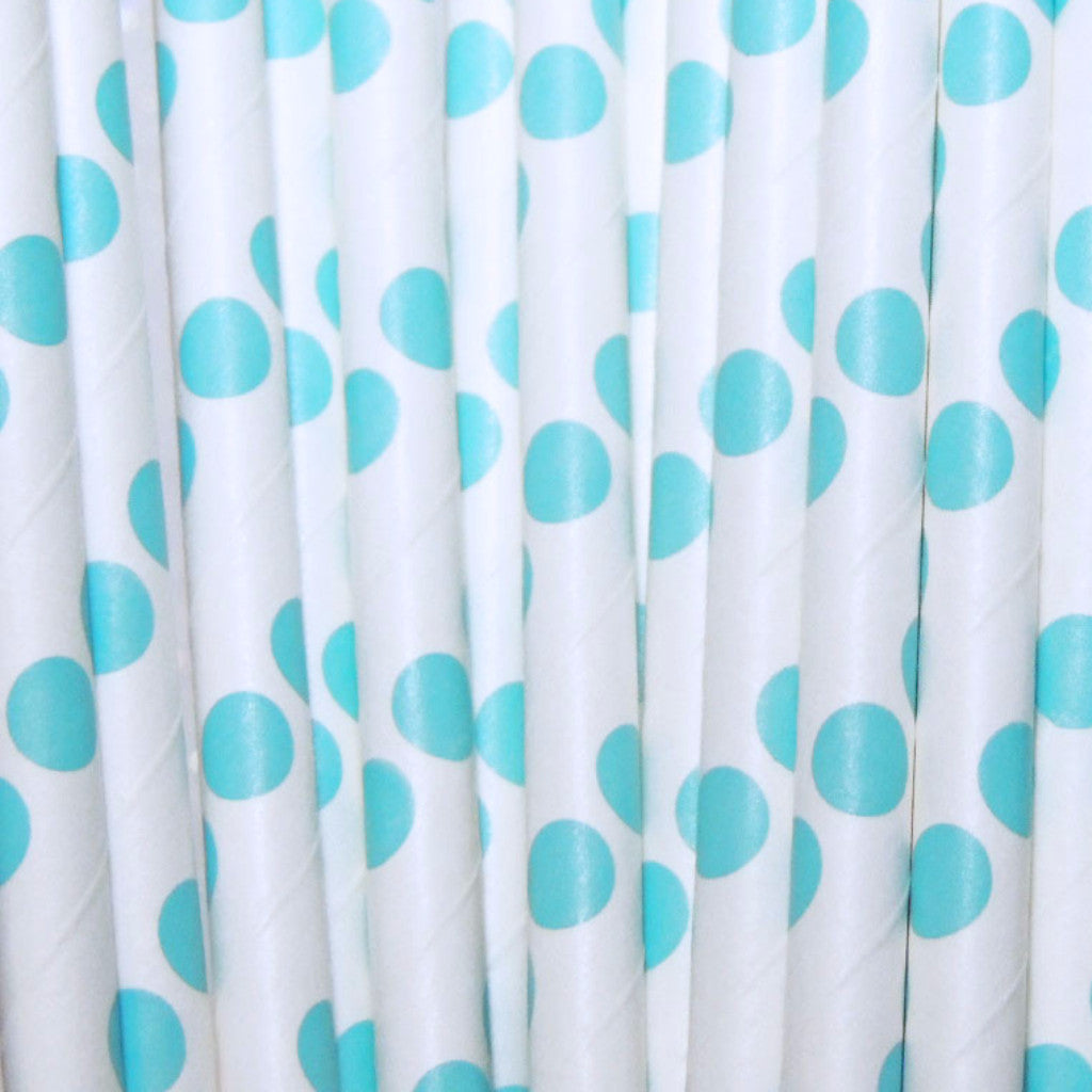 Blue Dots Paper Straws Blue Drinking Paper Straws Blue Birthday Party Straws-TheIcedSugarCookie.com