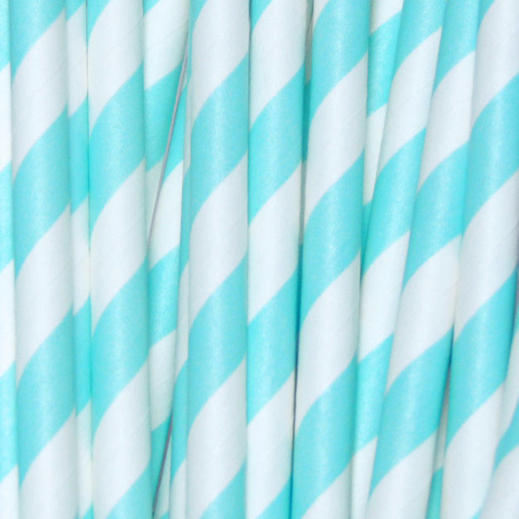 Mermaid Blue Striped Paper Straws-PKG of 25