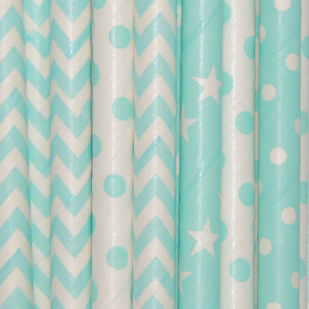 Unicorn Blue Paper Straws
