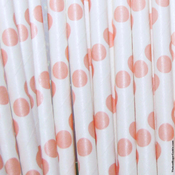 Blush Dots Paper Straws