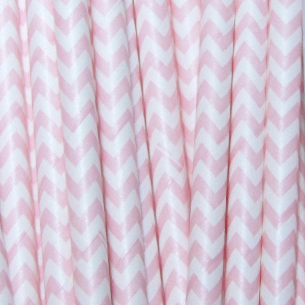 Bubblegum Pink Chevron Paper Straws-PKG of 25