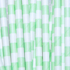 Checkered Lime Green Paper Straws-PKG of 25